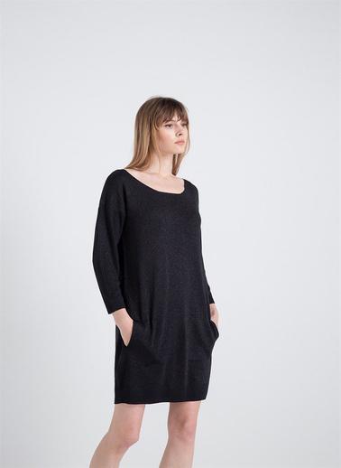 Xtsy Lurex İpli Triko Elbise Siyah